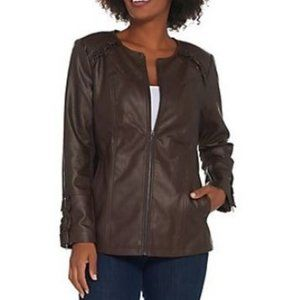 Denim & Co Faux Leather Jacket with Ruffle Detail